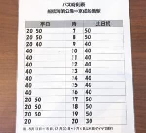 ふなばし三番瀬環境学習館 バス時刻表
