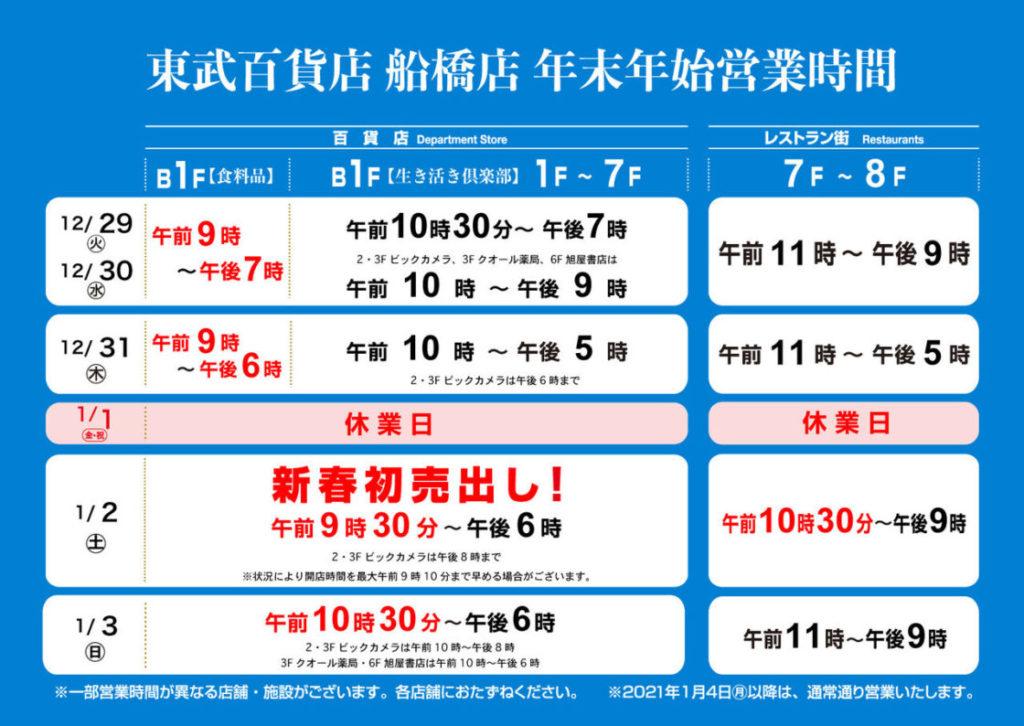 東武百貨店船橋店の年末年始営業時間
